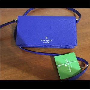 Kate spade blue crossbody wallet